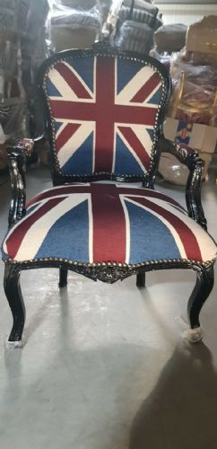CHAIRS FRANCE BAROQUE STYLE LADY CHAIR WITH ARMRESTS BLACK / UNION JACK #55F3